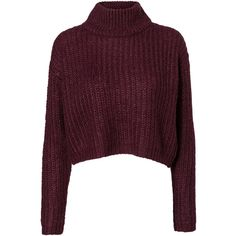 Vero Moda Cropped Knitted Pullover ($13) ❤ liked on Polyvore featuring tops, sweaters, shirts, jumper, roll neck sweater, purple long sleeve shirt, purple sweater, long sleeve pullover sweater and purple crop top