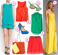 Summer Choice #colours #dress #green #red #yellow #orange