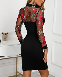 Shop Sheer Mesh Floral Embroidery Bodycon Dress right now, get great deals at Divasruby Tight Dresses, Casual Dresses, Fashion Dresses, Mesh Dress, Sheer Dress, Silk Dress, Embroidery Dress, Floral Embroidery, Trend Fashion