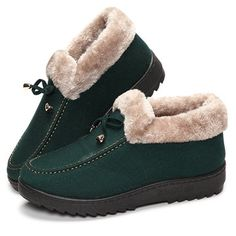 Bowknot Slip On Faux Fur Lining Soft Sole Round Toe Warm Short Boots - US$17.85