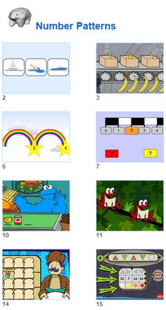 Math Number Patterns activities for kids and their teachers from Johnnie's Math Page