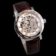 Luxury Men's Skeleton Stainless Steel Leather Band Wrist Mechanical Watch