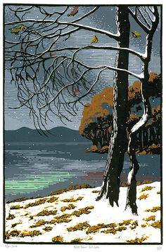 Gull Lake by Max-Karl Winkler. http://www.max-karl.com/ Tags: Woodcut, Linocut, Lake, Water, Trees, Branches, Helen Elstone