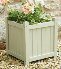 Shabby Chic Wooden Square Planter - H39cm x W36cm (also 50cm size available)