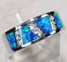 Australian Opal White Topaz 925 Solid Sterling Silver Ring Sz 8   eBay