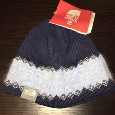 North face navy blue knit beanie hat North face navy blue with baby blue design knit beanie hat The North Face Accessories Hats
