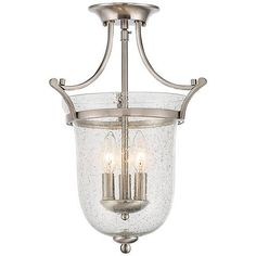"""Savoy House Trudy 12""""W 3-Light Satin Nickel Ceiling Light - #1H243 