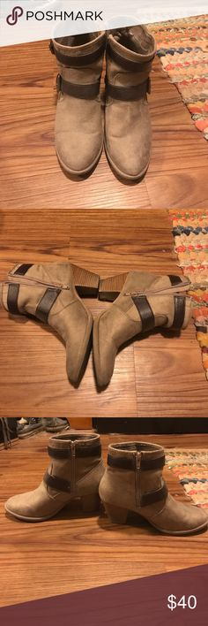 Cute Booties Light brown with dark brown straps. Zip up barely worn Shoes Ankle Boots & Booties