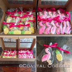 Flamingo and pineapple sugar cookies for a bachelorette party!