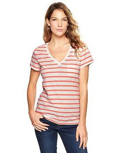 Essential stripe pocket V-neck tee - Easy & lightweight—the perfect fitting everyday tee just got softer. $22.95
