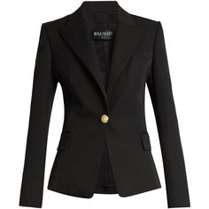 Balmain Single-breasted wool jacket ($1,473) ❤ liked on Polyvore featuring outerwear, jackets, shoulder pad jacket, balmain jacket, single breasted jacket, wool jacket and tailored jacket