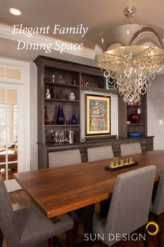 New beautiful and inviting space for family interactions, school work, and guest entertaining with Sun Design Remodeling. Sun Designs, Kitchen Models, Remodels, Custom Homes, Home Remodeling, Entertaining, Dining, Elegant, Space