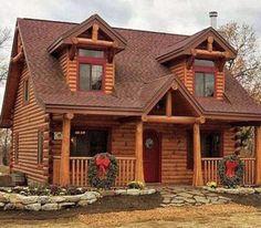 Tiny Log Cabins, Small Log Cabin, Log Cabin Kits, Cabin House Plans, Log Cabin Homes, Cabins And Cottages, Log Home Floor Plans, Log Cabin Exterior, Small Log Homes