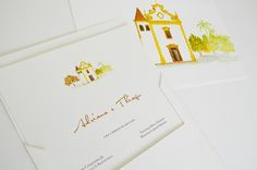 Convite de casamento com aquarela da igreja na Bahia - Susana Fujita Convites