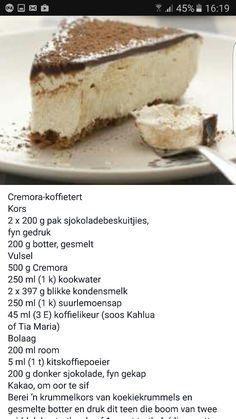 Cremora koffie tert Easy Tart Recipes, Baking Recipes, Cookie Recipes, Kos, Ma Baker, African Dessert, Chocolate Cake With Coffee, Delicious Desserts, Yummy Food
