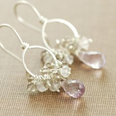Earrings, Sterling Silver Pink Amethyst Gemstone Clusters Smoky Quartz Rose Quartz Hoops Handmade, aubepine