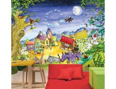 """Mural """"Good Night"""". A wallpaper mural from Muralunique.com. This is an original painting from Annie Giroux."""