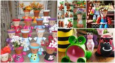 How to make Clay Pot Flower People  See more details here -> http://www.goodshomedesign.com/clay-pot-flower-people/ - Home Design - Google+