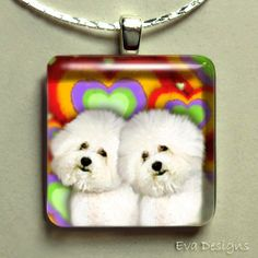 BICHON FRISE DOGS LOVE HEARTS GLASS TILE PENDANT by evadesigns, $14.00
