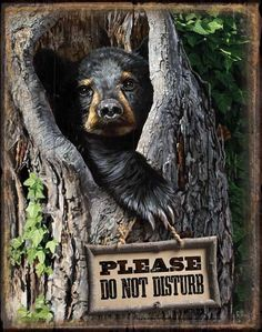"Black Bear Metal Tin Sign Please Do Not Disturb 12-1/2"" x 16"" Instant decor, so very welcoming, visually appealing and a true reflection of your interest in the outdoors."
