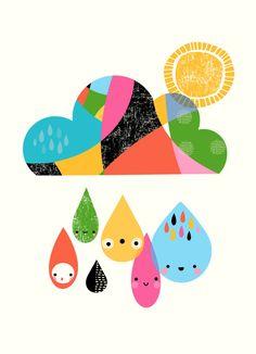 Mounted Nursery Wall Art Print - Sunny Rain Drops  - Personalised