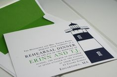 Martha's Vineyard Nautical Lighthouse Wedding Invitation Collection. blue, green and white color combo