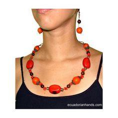 Red tagua beaded necklace - #EcuadorianHands - Beads and beading. Fashion´s perfect complement! - Abalorios y cuentas, un complemento perfecto de la moda! | Flickr – Compartilhamento de fotos!