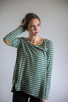 The Nica Striped Blouse in Forest