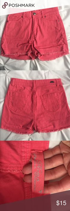 High waist coral shorts Beautiful coral color. High waisted cut offs. Denim material. Purchased from boutique store. Only worn a few times. In excellent condition. Shorts Jean Shorts