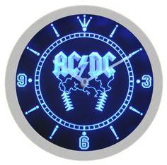ACDC AC/DC Metal Rock Music Neon Sign Bar Wall Clock