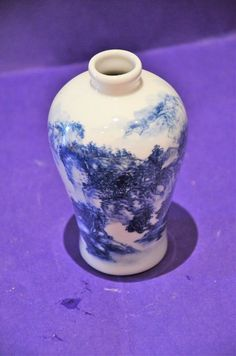 Chinese Signed Blue and White Landscape Vase. 5.5 INCHES TALL