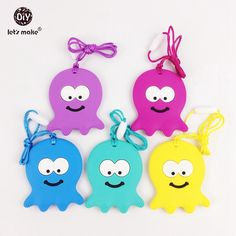 20pcs Silicone Octopus Teether Baby BPA Free Safe and Natural Silicone Animals Teether Toys Teether Necklace Pendant
