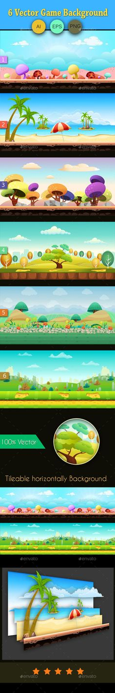 6 Vector Game Background — Vector EPS #app #vector • Download here → https://graphicriver.net/item/6-vector-game-background/9784297?ref=pxcr
