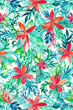Paradise Floral - a watercolor pattern by micklyn