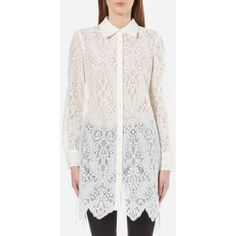 McQ Alexander McQueen Women's Tunic Lace Shirt Dress - Ivory ($445) ❤ liked on Polyvore featuring dresses, white, ivory dress, white ivory dresses, white dress, lace dress and t-shirt dresses