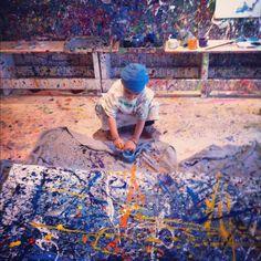 Splatter paint 4th birthday party!