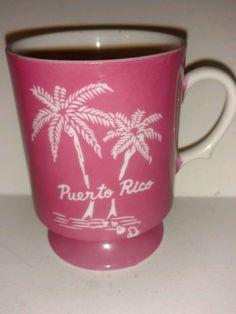 Vintage Puerto Rico Travel Souvenir Collectible Coffee Mug - Pink by SunnyDaysCollectible on Etsy