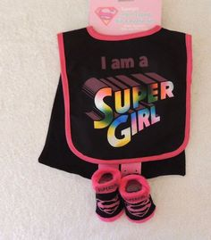 NEW Baby Girl I am a Supergirl Bib WITH CAPE, Socks, Baby Shower Gift #ABGBaby