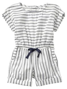 Stripe cuffed romper Product Image