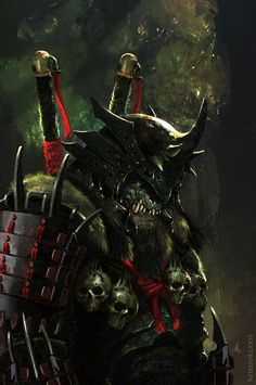 Samurai Orc from World of Warcraft, fan creation by artist Christian Villacis Fantasy Warrior, Fantasy Races, Dark Fantasy Art, Sci Fi Fantasy, Dark Art, Oni Samurai, Samurai Warrior, Fantasy Creatures, Mythical Creatures