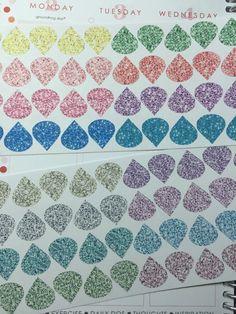 48 glitter teardrop stickers for erin condren life planner, plum planner, filofax