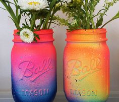 Neon Ombre Jars // all the Pinterest trends in one item! ;) if only there was a muffin tin and this was at a wedding..,