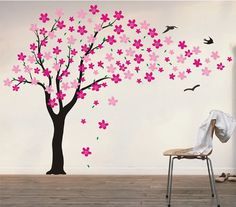 Floral Tree Wall Decals, Girl's Wall Decal, Flower Tree Decals, Baby Nursery Flower Tree Wall Sticker -Drifting flowers and birds-