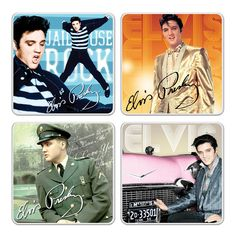 """Set Of Four Elvis Presley Black Leather /& White Jump Suit 4/"""" Coasters  NEW"""