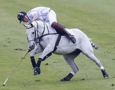 Lucky...Prince William narrowly escaped a nasty fall this afternoon whilst playing polo in the Audi Challenge at Chester Racecourse
