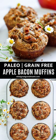 Sweet and savory paleo apple bacon muffins that are moist and fluffy. These make a perfect dessert and breakfast with low sugar, and the combination of apple and bacon are just perfect. These are grain free and great to make ahead! #paleo #grainfree #muffins #fallbaking #glutenfree #dairyfree Healthy Dessert Options, Best Dessert Recipes, Fun Desserts, Delicious Desserts, Breakfast Bread Recipes, Gluten Free Recipes For Breakfast, Dairy Free Recipes, Bacon Muffins, Waffle Recipes