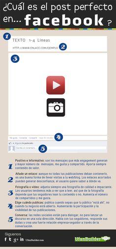 5 características de un post perfecto en Facebook. #Infografía en español. #CommunityManager #RedesSociales #MarketingOnline #InternetMarketing #Infografia #CapacitaciónOnline