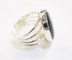 Onyx RingSilver RingRound RingUnique by IrisSilverJewelry on Etsy