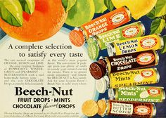 1932 - Candy during The Great Depression - vintage ad for Beech Nut Fruit Drops Vintage Prints, Vintage Posters, Vintage Candy, Vintage Food, Grocery Ads, British Sweets, Old Candy, Vintage Advertisements, Retro Ads