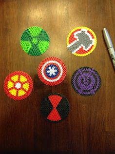 Marvel comics Avengers superhero perler bead coasters/ornaments/medallions